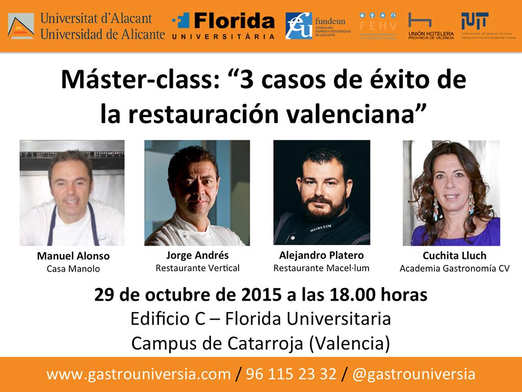 """Máster-class """"3 casos de éxito de la restauración valenciana"""""""
