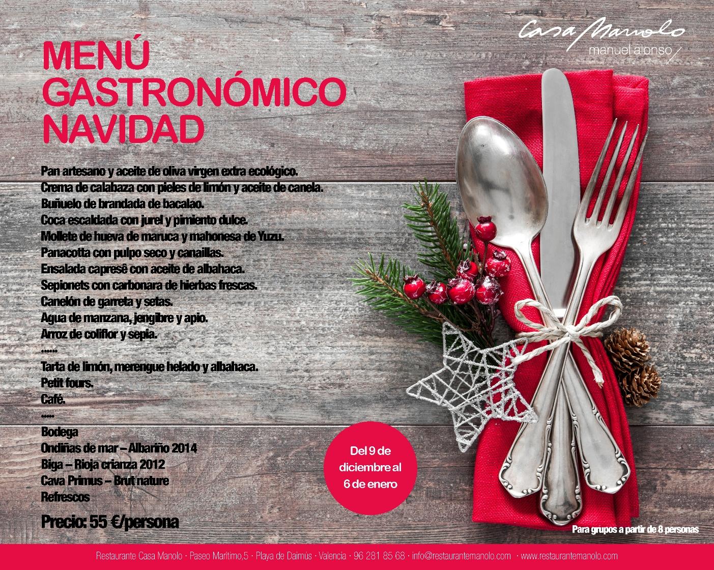Menú Navidad Rte. Casa Manolo. Estrella Michelín
