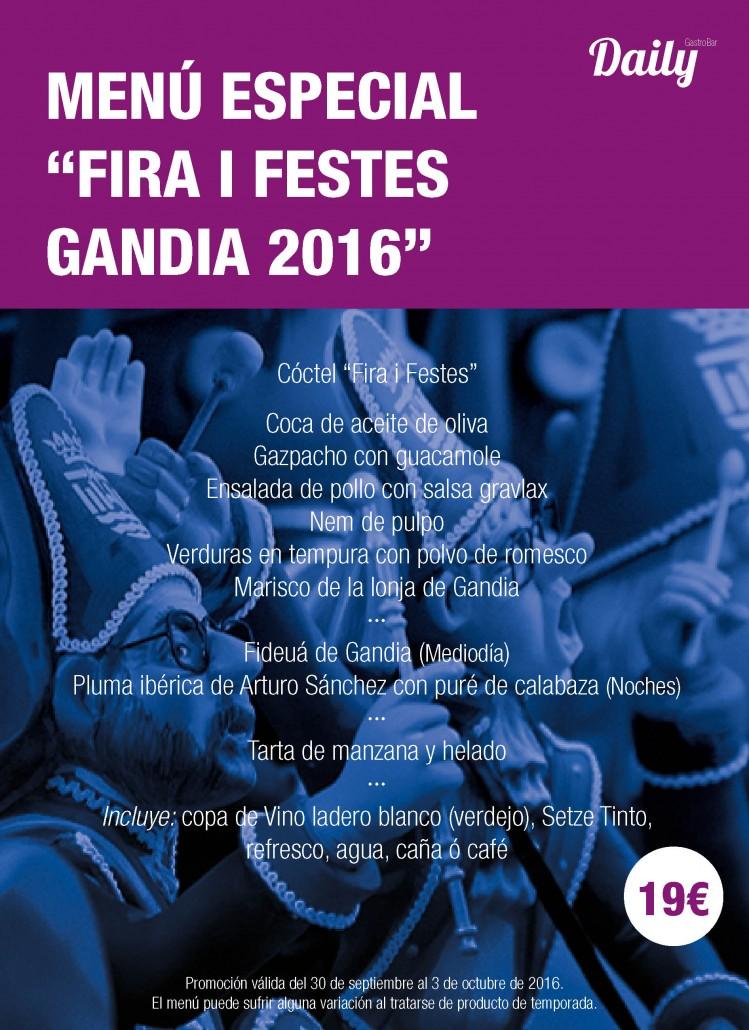 Menú Especial Fiestas Gandía 2016. Fira i Festes Gandía 2016