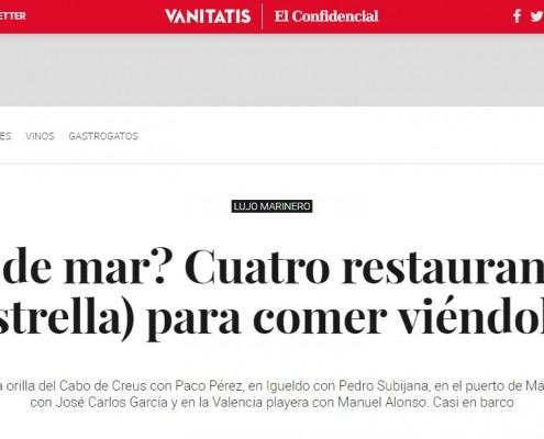 Casa Manolo, by Manuel Alonso aparece en publicación Vanitatis en el artículto 4 mejores restaurantes con estrella michelín y con vistas al mar