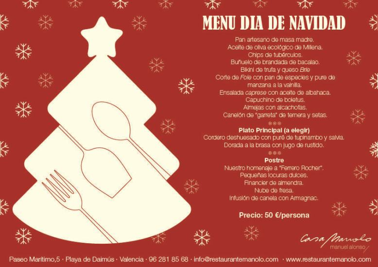 Menú Comida Navidad Casa Manolo