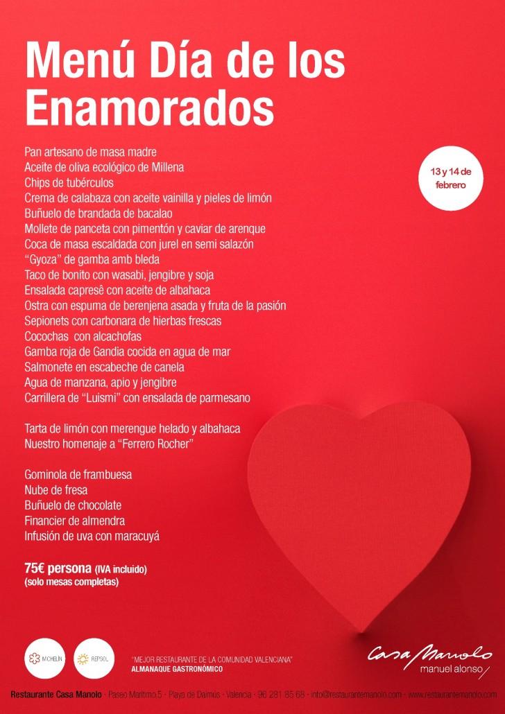 Menú Día de lo enamorados. Restaurante Casa Manolo by Manuel Alonso Estrella Michelín