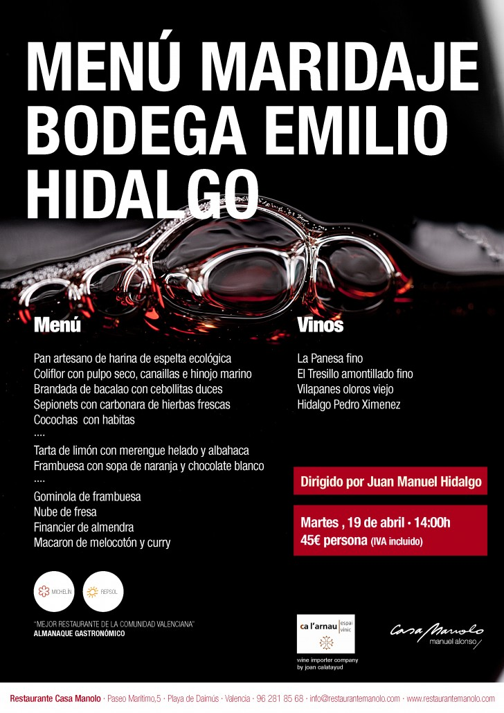 Comida Maridaje Emilio Hidalgo