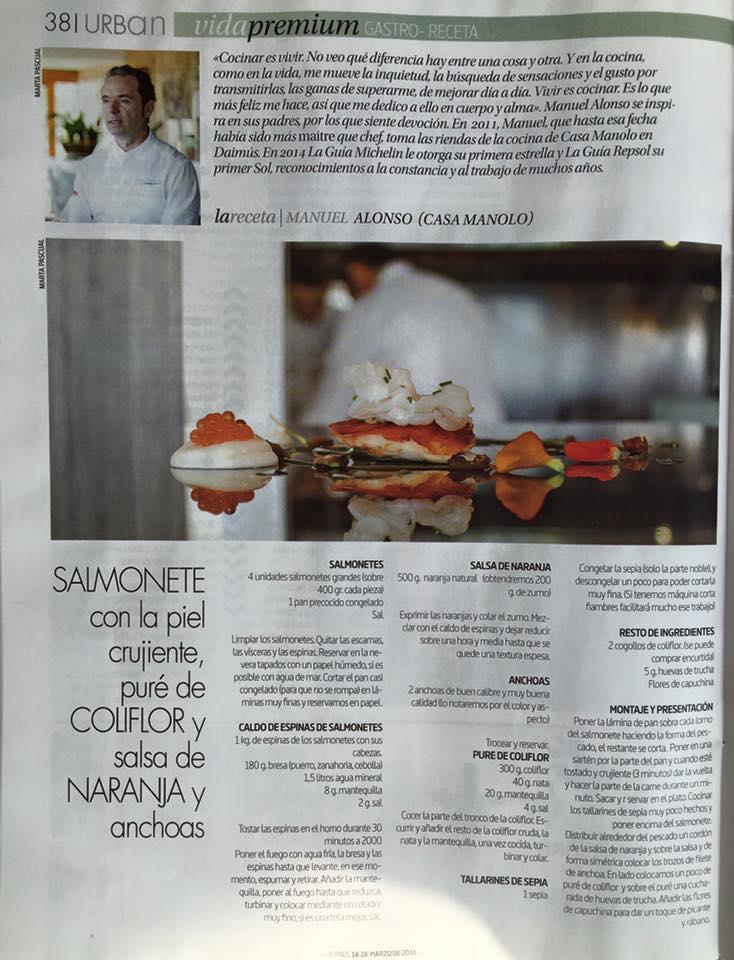 Revista Urban. Receta Casa Manolo. Manuel Alonso/