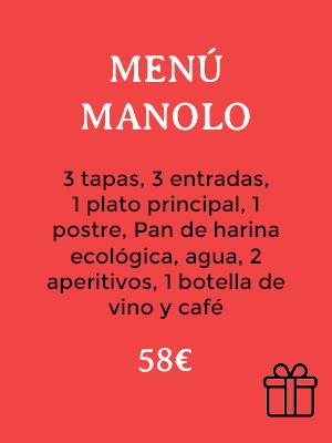 BONO REGALO NAVIDAD MENU MANOLO CASA MANOLO